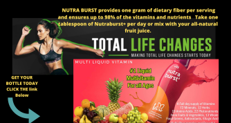 NUTRA BURST provides one gram of dietary fiber per serving and ensures up to 98% of the vitamins and nutrients Take one tablespoon of Nutraburst+ per day or mix with your all-natural fruit juice. (1)